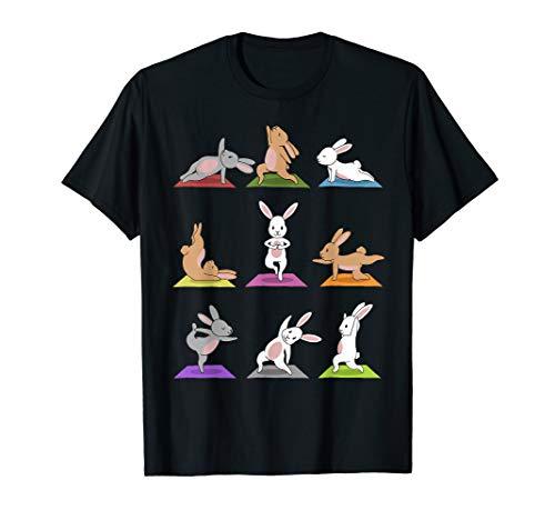 Bunny Yoga T-Shirt Funny Rabbits In Yoga Poses Sports Tee