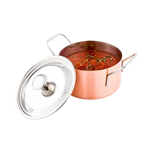 Casserole Pot with Lid - Copper Plated Casserole Pot - Stainless Steel - 6.4