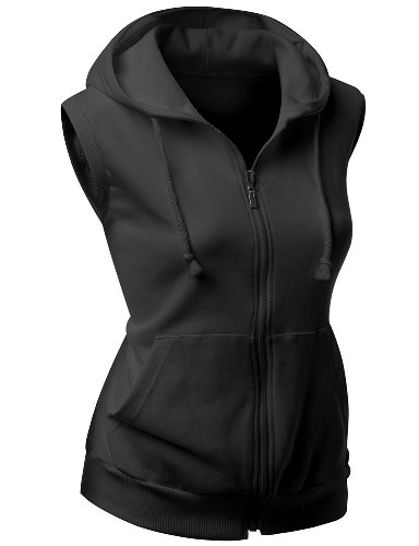 Women high quality cotton Zip up hoodie Vest BLACK M