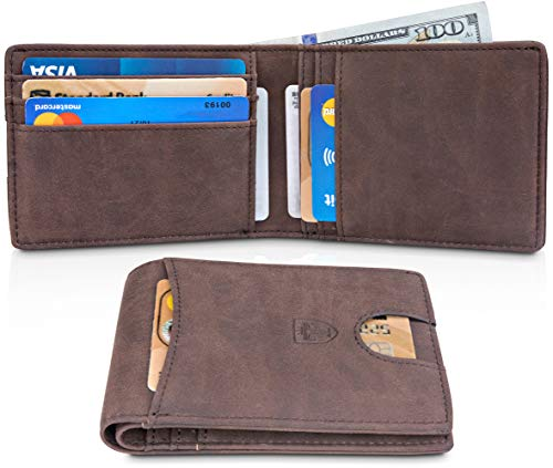 (TRAVANDO Slim Wallets BUFFALO - RFID Blocking Wallet - 8 Card Pockets - Mini Credit Card Holder - Travel Wallet - Minimalist Bifold Wallet for Men with Gift)