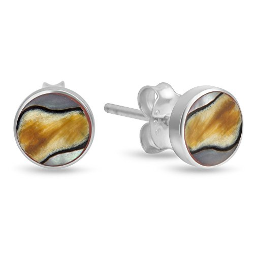 Silver Shell Post (925 Sterling Silver Natural South African Turban Shell Inlay Round Post Stud Earrings 7 mm)