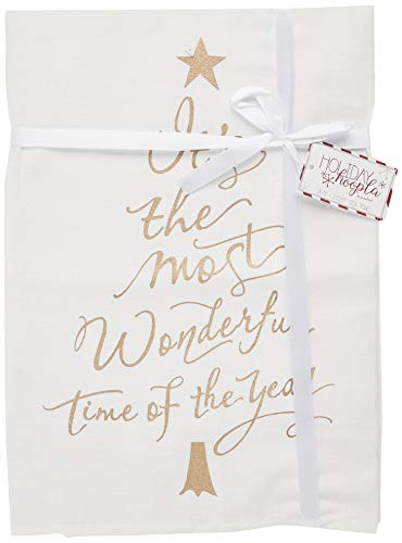 Pavilion Gift Company 81546 It's the Most It's the Most Wonderful Time of the Year Christmas Tea Towel, White