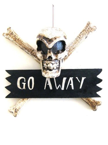 Pirate Skull Cross Bone Go Away Sign Plaque Wall Art Decor Wood Carved- 20