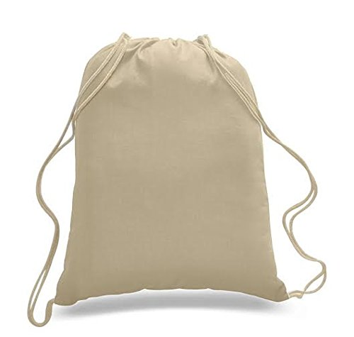 (12 Pack) 1 Dozen - Durable Cotton Drawstring Tote Bags (Natural)