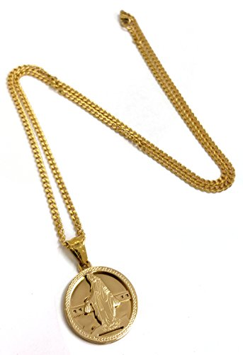 - Gold Stainless Steel Virgin Mary Medallion Pendant Necklace with 24