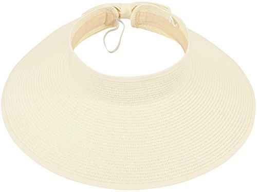 Women Summer Roll Up Foldable Wide Brim Sun Visor Straw Hat Ivory
