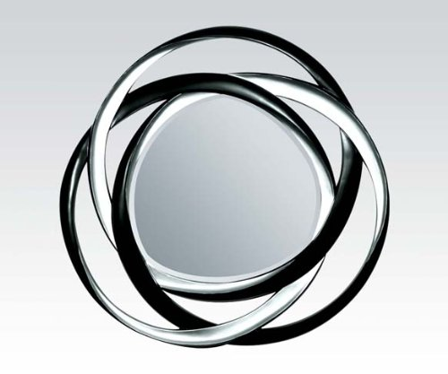 Silver and black finish circles geometric design wall mirror.
