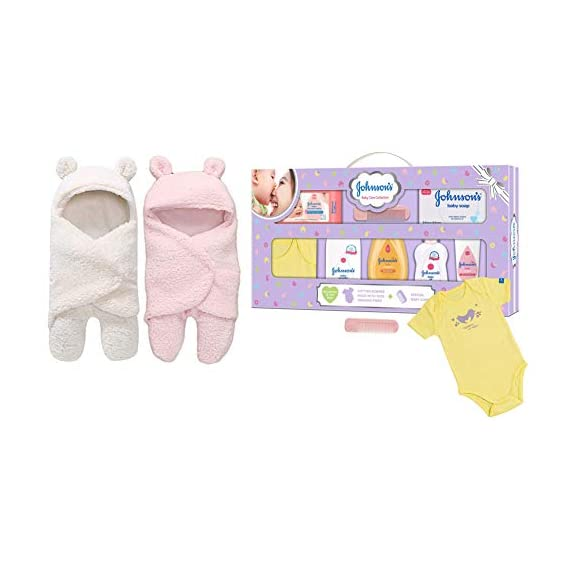 My Newborn Baby Boys and Baby Girls 3 in 1 Baby Blanket-Safety Bag-Sleeping Bag Pack of 2 Pcs&Johnson's Baby Care
