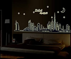 BestGrew Dubai City Night View Removable Wall Decals Stickers - Wall decals dubai