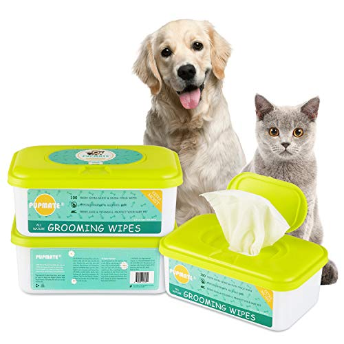 PUPMATE Pet Wipes for Dogs & Cats, Extra Moist & Thick Grooming Puppy Wipes with 100 Deodorizing and Hypoallergenic Fresh Counts, Aloe Vera/Nature (1 Pack)