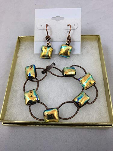 - Hand-crafted Bracelet & free pair Earrings to match - Copper plated link bracelet with 6 dichroic golden glass fused stones