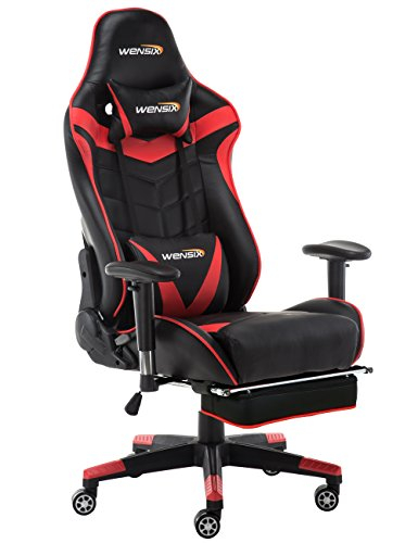 Cheap WENSIX Gaming Chair High Back Computer Chair With Adjusting Footrest, Ergonomic designs Extremely Durable PU Leather Steel Frame Racing Chair(Red-04)