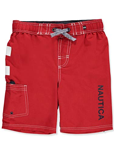 Nautica Big Boys' Swim Trunk with UPF 50+ Sun Protection, Anchor Carmine, Medium (10/12) -
