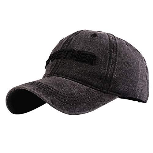 Unisex Washed Cotton Plain Color Baseball Cap Low Profile Durable Sun Protection Visor Sunhat Trucker Dad Cap (Khaki-Letter)