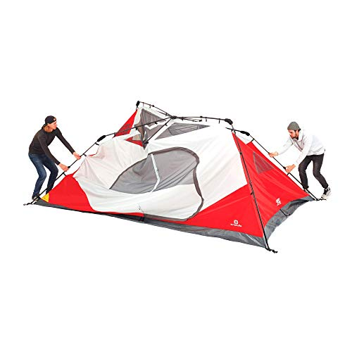 Outbound 10-Person Tent | Instant Pop up Tent for Camping with Carry Bag and Rainfly | Perfect for Backpacking or The Beach | Cabin Tent, Red (Renewed)