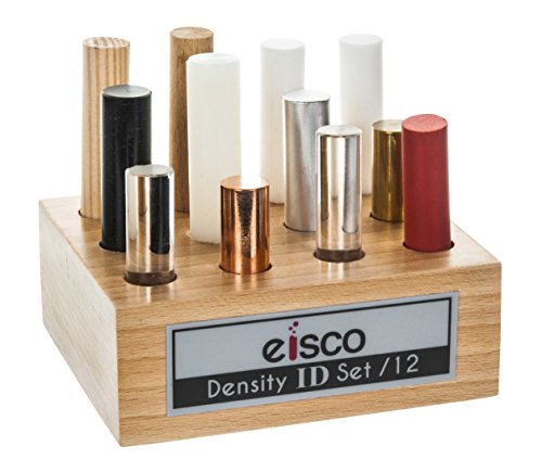 Teflon Cylinder Set - Mixed Materials for Density Exploration, Set of 12 Cylinders with Wooden Holder, Varied Lengths - Oak wood, Pine wood, PVC, Derlin, Nylon, Teflon, Rubber, Aluminum, Glass, Lucite, Brass, and Copper