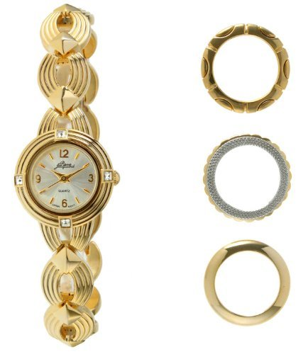 - Pierre Jacquard BZ3 Women's Gold-Tone Bezel Interchangable Gift Set Watch