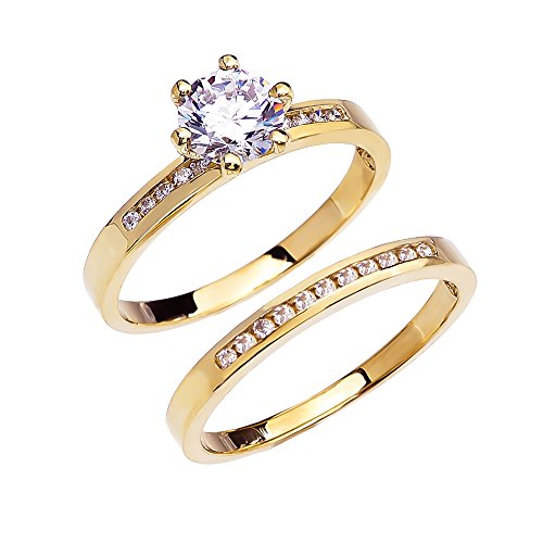 k yellow gold channel set diamond engagement and wedding