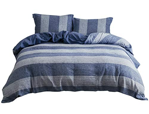 - PHF Washed Linen Cotton Duvet Cover and 2 PillowShams for Summer Soft Breathable Lightweight Full/Queen Size Blue