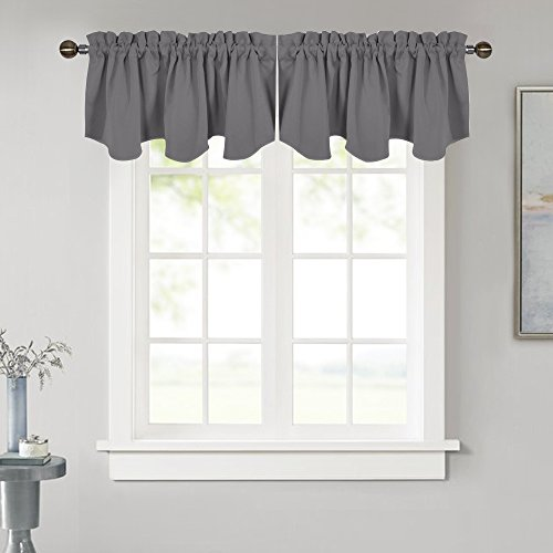 NICETOWN Blackout Window Valance for Kitchen - 52-inch by 18