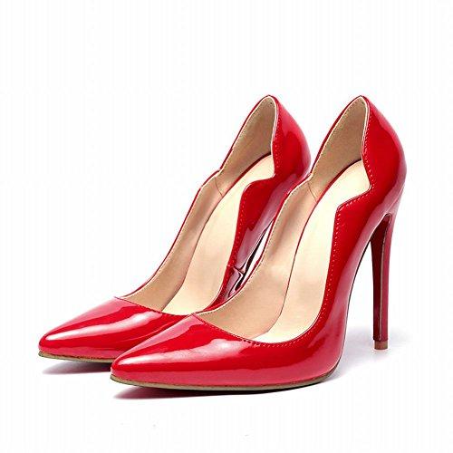 MissSaSa Damen High-heels glitzer Pumps Pointed-Toe Lackleder Stiletto für Party Rot