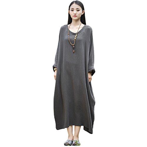 Voyage Robe Maxi Lin Coton Batwing Occasionnel Des Femmes Aeneontrue Vêtements Gris / Noir