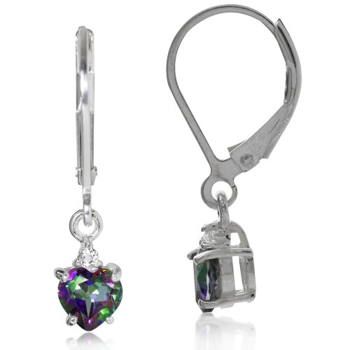 Earrings Heart Sterling Silver Shape (1.08ct. Heart Shape Mystic & White Topaz 925 Sterling Silver Leverback Earrings)