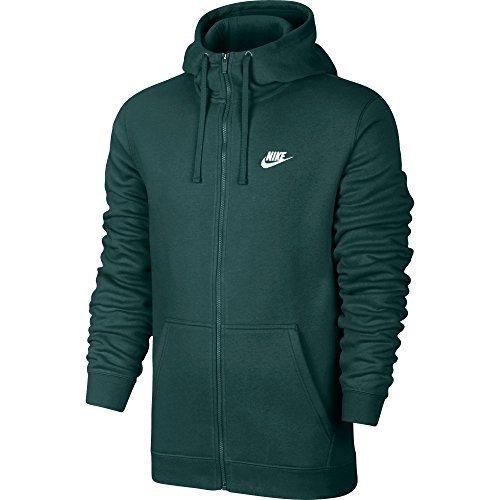 NIKE Club Fleece Men's Sportswear Full Zip Hoodie Green/White 804389-375 (Size XL)