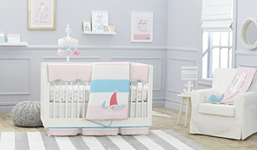 Just Born Sail Into Your Dreams 3-Piece Crib Bedding Set, Pink