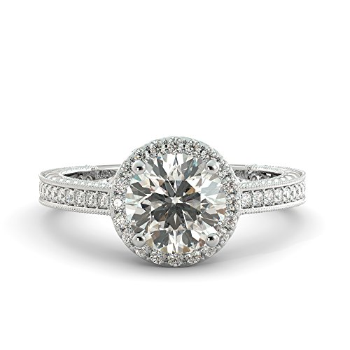Round Cut Charles & Colvard Forever One Moissanite & Natural Diamond Vintage Halo Engagement Pave Ring Your choice of Solid 14k White Rose or Yellow Gold 2.35 ()