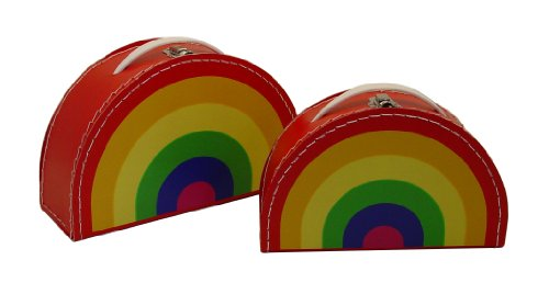 kidSTYLE Cargo Vintage Travelers Mini Suitcases, Set of 3, Rainbow Print