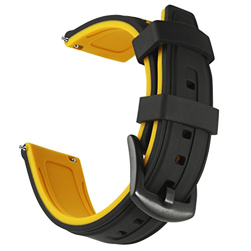 OLLREAR Silicone Watch Strap Replacement Rubber Watch Band -6 Colors & 4 Sizes - 20mm, 22mm, 24mm, 26mm (22mm, Yellow)