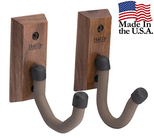 Target Walnut (USA Made Hardwood Horizontal Gun Rack Hanger Rifle Shotgun Bow Rack Hooks (Pair) - Black Walnut)