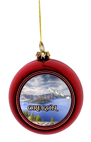 - Lea Elliot Inc. Santa Klaus and Sleigh Riding Over Crater Lake Oregon USA Bauble Christmas Ornaments Red Bauble Tree Xmas Balls