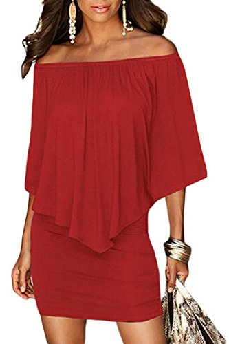 Sidefeel Women Off Shoulder Ruffles Bodycon Mini Dress Medium Red ()