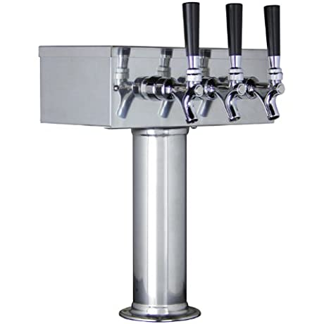 Kegco KC TTOW 3F SS Polished Stainless Steel T Style 3 Faucet Draft Beer Tower 3 Column Stainless Steel