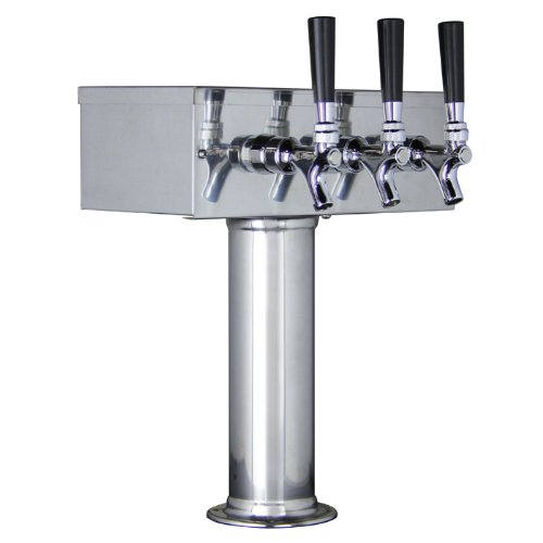 Kegco KC TTOW-3F-SS Polished Stainless Steel T-Style 3 Faucet Draft Beer Tower, 3'' Column, Stainless Steel by Kegco