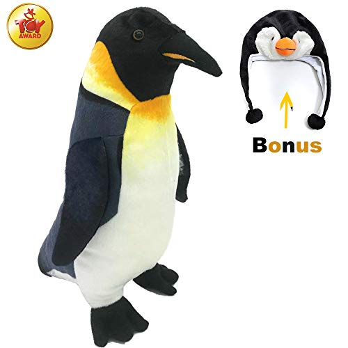 Rico The Emperor Penguin | Lifelike Plush Toy with Beautiful Marking and Realistic Details | Quality Stuffed Animal with a Costume Penguin Hat | Gift for Kids or Room Decor | 11.8 inch