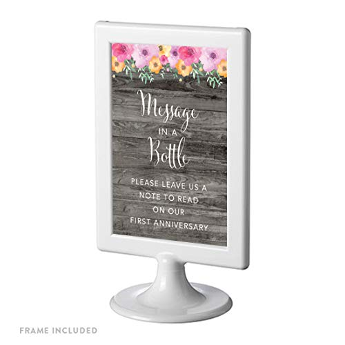 Andaz Press Framed Wedding Party Signs, Rustic Gray Wood Pink Floral Flowers, 4x6-inch, Message in a Bottle, Please Leave Us a Note to Read on Our First Anniversary, - Notes Read Please