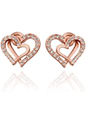 Hitaocity Korean Style 18k White Gold Plated Double Love Heart Shaped Rose-gold Color Earring Stud