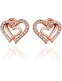 Korean Style 19k White Gold Plated Double Love Heart Shaped gold Color Earring Stud