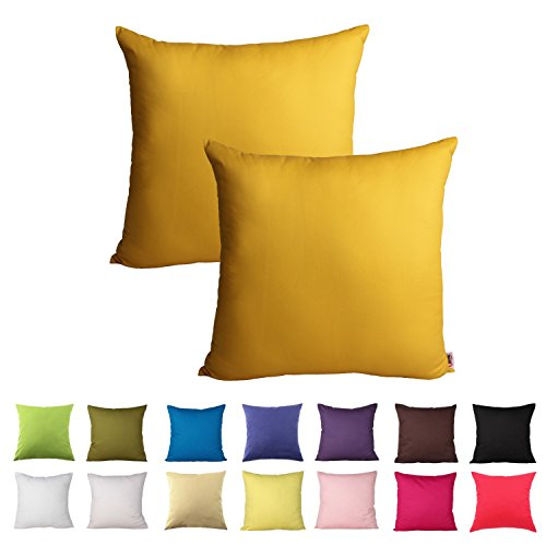 Queenie - 2 Pcs Solid Color Cotton Decorative Pillowcase Cushion Cover for Sofa Throw Pillow Case Available in 14 Colors & 5 Sizes (22 x 22 Inch (55 x 55 cm), Mustard Yellow) (Mustard Yellow Pillow)