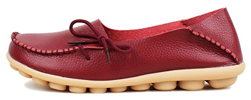 Shoes Loafers Slipper Cowhide Burgundy Leather Sty Slip Fangsto Women's ONS Flat 1 5wqYtZItFn