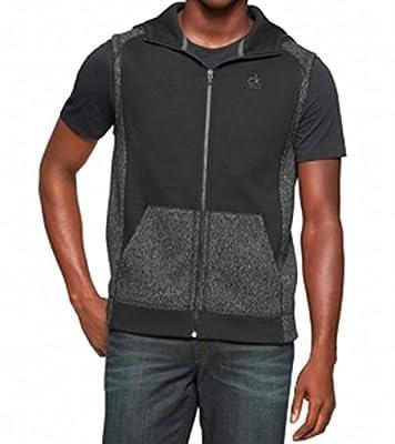 Calvin Klein Jeans Mens Hood Colorblock Vest Sweater