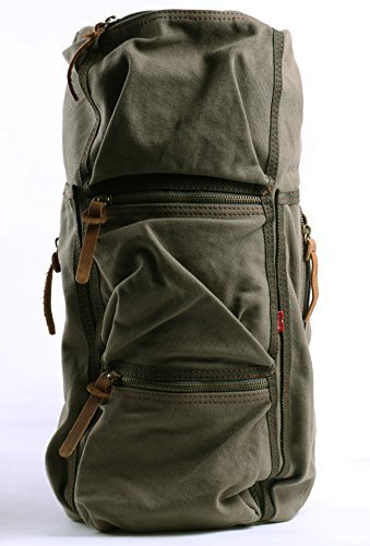 Cylinder Canvas Messenger Bag Travel Outdoor Hiking Bag Satchel Bag Crossbody Should Bags(Army Green)