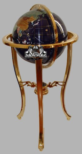 "37"" Floor Standing Blue Lapis Gemstone Globe with 50 USA Divided State Stones"