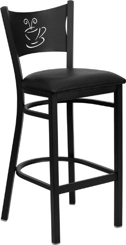 Flash Furniture HERCULES Series Black Coffee Back Metal Restaurant Barstool – Black Vinyl Seat