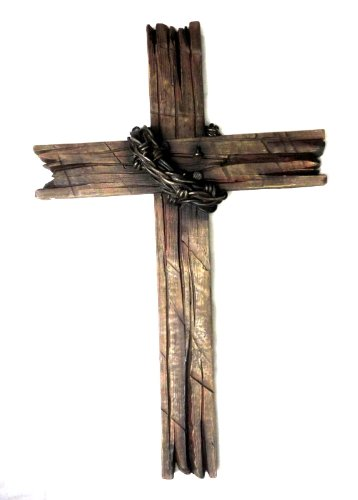 AW Beautiful Wall Cross with Barbed Wire and Nail, Cross with Wooden Texture