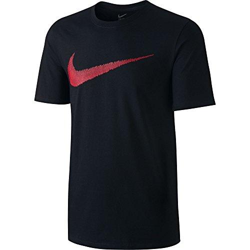 NIKE Men's Sportswear Hangtag Swoosh Tee, Black/Sport Red, Small