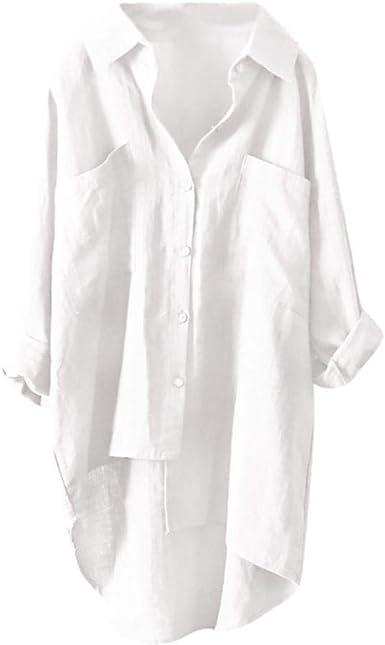 Lenfesh Camisetas Manga Larga Mujer Camisa Suelta Blusa ...